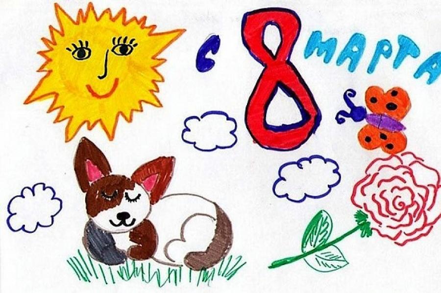 Детский рисунок открытки на 8 марта, марта стихи